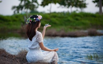girl, pose, pond, wreath, white dress, boat