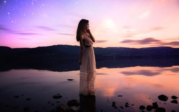 girl, pose, stars, pond, hair, face, white dress