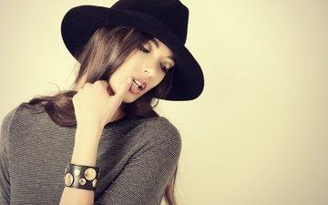 girl, hairstyle, hat, long hair