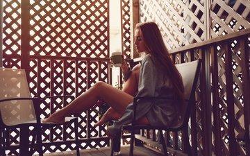 girl, pose, model, sitting, feet, mug, tea, photoshoot, long hair, interior design