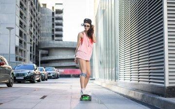 style, girl, smile, skate, the city, skateboard