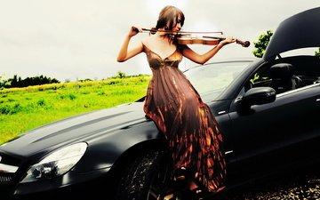 girl, violin, music, car, mercedes-benz