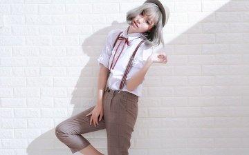 девушка, взгляд, волосы, лицо, шляпка, азиатка, рубашка, brode十三