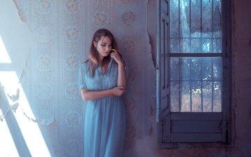 девушка, стена, модель, дом, волосы, лицо, окно, rafa sanchez