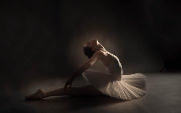 девушка, поза, профиль, танец, лицо, балерина, пуанты