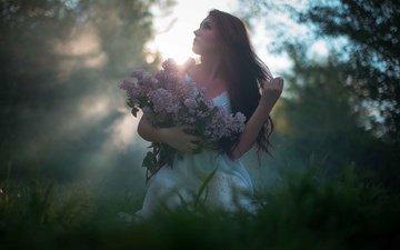 girl, fog, model, spring, lilac