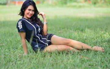 grass, girl, smile, look, legs, asian