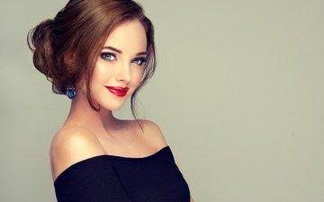 girl, smile, shoulders, blue eyes, makeup, hairstyle