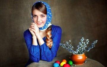 девушка, улыбка, портрет, коса, пасха, яйца, праздник, платок, верба