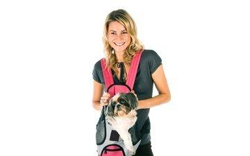 girl, smile, dog, white background, hairstyle, t-shirt, bag, shih tzu