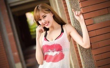 девушка, улыбка, волосы, азиатка, маечка