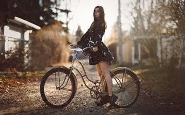 girl, dress, look, hair, face, shoes, bike