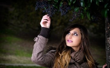 girl, grapes, model, coat, scarf, maria miaw