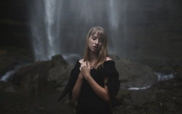 girl, waterfall, look, hair, face, in black, aleah michele, diluted thoughts