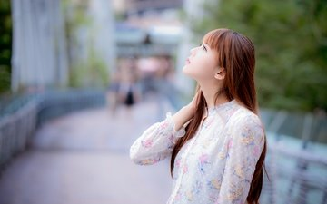 girl, look, profile, hair, face, asian