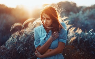 девушка, волосы, лицо, ветер, rafa sanchez
