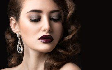 девушка, взгляд, волосы, лицо, макияж, прическа, помада, тени, ресницы