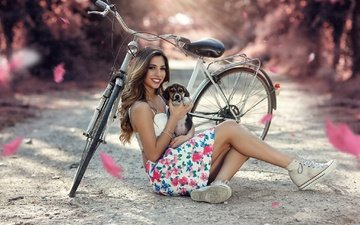 girl, smile, look, model, puppy, feet, bike, photoshoot, long hair, sitting, alessandro di cicco