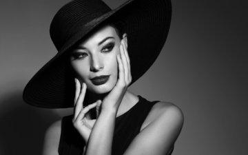 стиль, девушка, взгляд, чёрно-белое, волосы, лицо, макияж, шляпа, николь