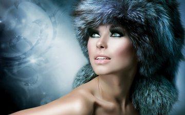 girl, look, patterns, shoulders, face, hat, makeup, fur