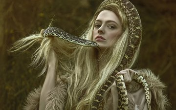 girl, fantasy, snake, hair, character, photoshoot, agnieszka lorek