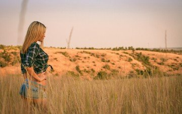 grass, girl, landscape, blonde, field, denim shorts