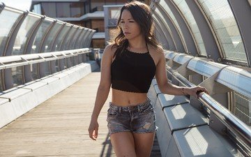 girl, bridge, look, model, hair, face, photoshoot, denim shorts