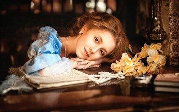 цветы, девушка, платье, ретро, ноты, ювелирные изделия, оксана атрошенко, диана липкина