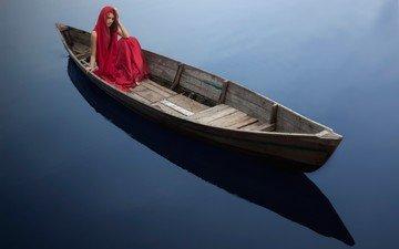 вода, девушка, лодка, модель