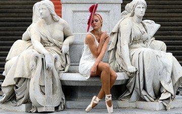девушка, статуи, скамейка, статуя, памятник, мрамор, белое платье, скульптура, demi pointes