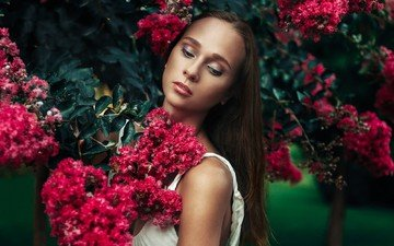 flowers, girl, dress, portrait, model, spring, face, plant, photoshoot