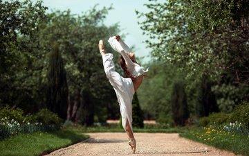деревья, девушка, парк, танец, балерина