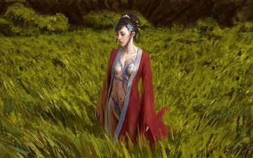 figure, grass, girl, tattoo, kimono, asian
