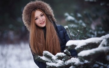 snow, tree, needles, winter, girl, smile, branches, look, face, long hair
