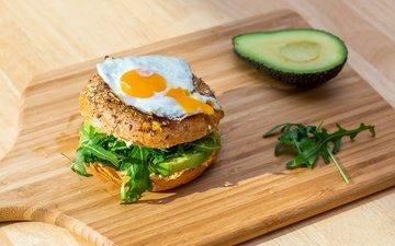 hamburger, egg, avocado, bun
