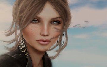 глаза, девушка, фон, птицы, волосы, губы, лицо