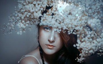 eyes, flowers, girl, background, portrait, look, hair, lips, face, rafa sanchez