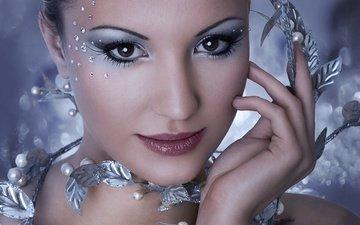 глаза, стиль, девушка, фон, взгляд, блеск, губы, макияж, тени, ресницы, жемчуг