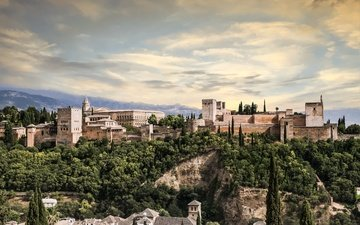the city, palace, spain, granada, alhambra