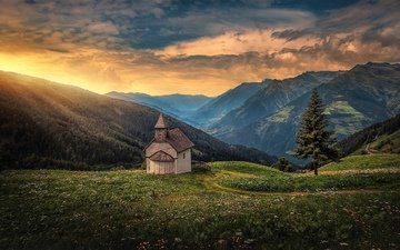 mountains, tree, temple, sunset, panorama, italy, church, spruce, chapel, alps