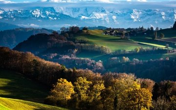 clouds, trees, mountains, autumn, switzerland, bern