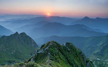 mountains, nature, forest, sunset, landscape, fog, ukraine