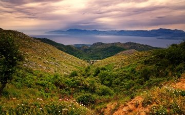 the sky, flowers, grass, clouds, mountains, hills, greece, corfu, lakones