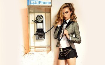 girl, blonde, model, phone, green eyes, jacket, cara delevingne