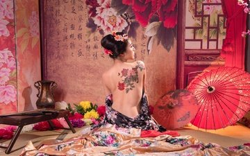 girl, characters, model, room, tattoo, umbrella, asian, geisha, rear view