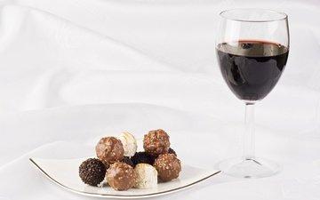 candy, glass, wine, chocolate, dessert, red wine