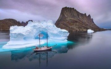 корабль, айсберг, север, парусный