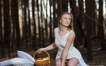 trees, forest, girl, pose, blonde, smile, basket, white dress