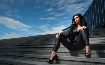 ladder, girl, brunette, the city, model, feet, posing, photoshoot, sitting, high heels, joakim oscarsson