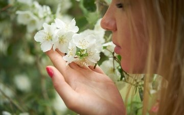 summer, petals, hair, lips, face, masha